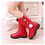 Youpin Botas de piel suave para otoño e invierno para niños, de terciopelo cálido, botas de pierna alta, a la moda, botas de nieve impermeables (color: D52 algodón rojo, tamaño de zapato: 32)