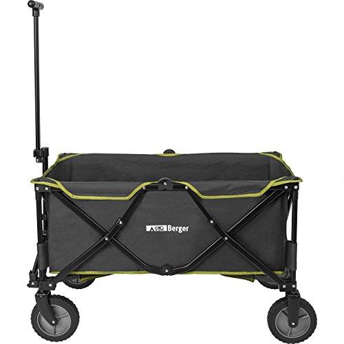 Berger Bollerwagen grau/grün, Volumen 129 Liter, bis 100 kg belastbar, Faltbare Transportkarre für Camping, Garten, Festivals und Pferdehalter
