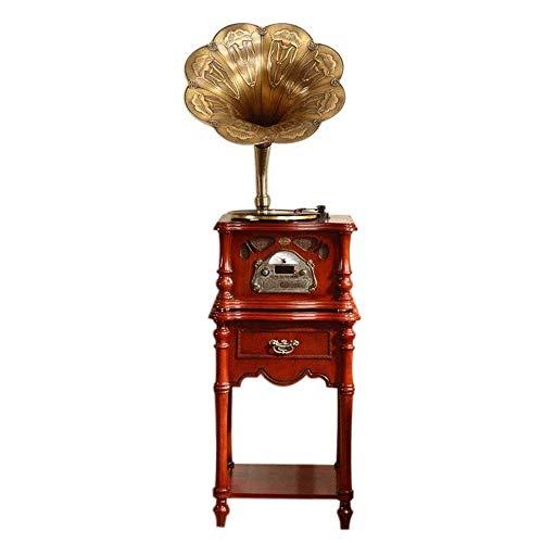 LDGS&TTW Reproductor de grabación Turntable con Altavoz de Cuerno para Registros, Mini gramófono con aux-in, Radio FM, gramófono Estilo Retro Vintage (Color: marrón, Blanco) (Color : Brown)