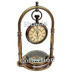 Hanzla Collection Nautical Brass Compass Base Table Clock Antique Brass Desk Clock Maritime Victoria London Hanging Clock