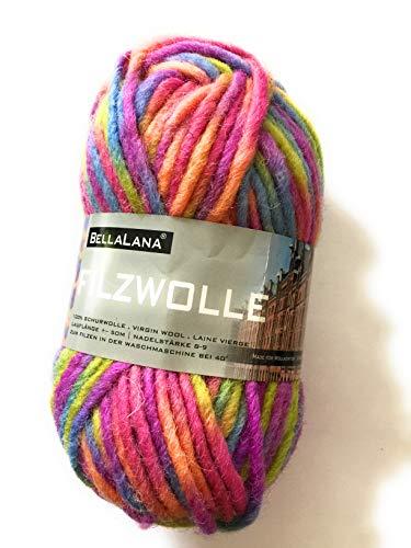 Filzwolle blau/rosa/ornage/gelb meliert aus 100% Schurwolle, Lauflänge ca. 50 m