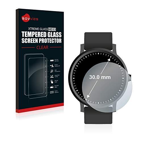 Savvies Panzerglas kompatibel mit Armbanduhren (Kreisrund, Durchmesser: 30 mm) - Echt-Glas, 9H Härte, Anti-Fingerprint