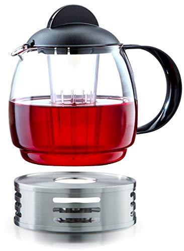 GLAS Teekanne Mikrowellenkanne 1,8L mit Teesieb + Stövchen