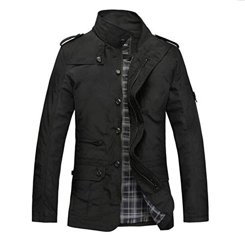 Mens Thick Warm Jacket Coat Full Men's Trench Coat Polyester Large Size-Black_XL