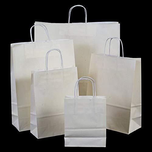 """4/"""" 100 Blanc Patch Poignée Transporteur Cadeau Retail Shopping sacs en plastique 12/"""" X 12/"""""""