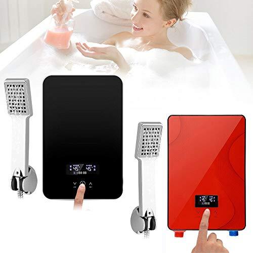 Berkalash Elektrischer Durchlauferhitzer, Digital Konstanter Temperatur Elektrischer Heißer Tankless Badezimmer Warmwasserbereiter, mit Duschkopf Kit, 6500W, Wasserdicht IPX4 (Rot)
