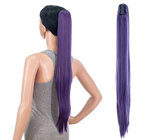 SWACC 28-Inch Long Straight Claw Clip Ponytail Extensions Synthetic Hair Extensions Ponytail Jaw Clip Hair Pieces for Women (Dark Lavender Purple)
