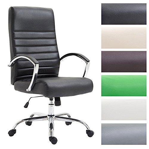 CLP Bürostuhl XL VALAIS mit Kunstlederbezug, Chefsessel, Drehstuhl mit Armlehnen, Bürodrehstuhl mit hochwertige Polsterung, max. Belastbarkeit 136 kg, Schwarz