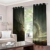 SMNVCKJ Juego de cortinas opacas para dormitorio con impresión 3D de anime, cortinas correderas opacas para decoración de salón comedor (11,100 × 140 cm (ancho × alto)
