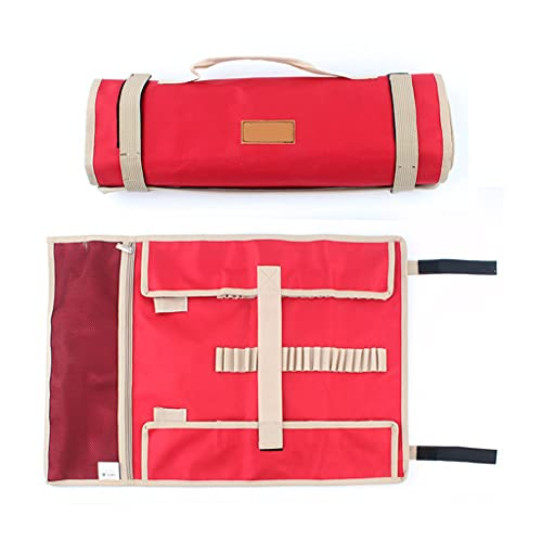 yuanhaourty Storage Bag with Handle, Oxford Cloth Tent Pegs Hammer Wind Rope Tent - Khaki/Red for Outdoor Travel Camping Hiking