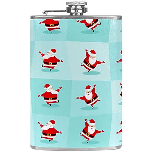 Petaca para licor con embudo para camping, pesca, barbacoa, fiesta de Navidad, bar, bebederos, botella de vino de bolsillo, Navidad, Pap Noel bailando