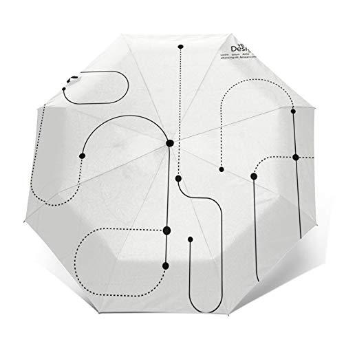 Paraguas Plegable Automático Impermeable Conecte líneas Curvas Puntos punteados, Paraguas De Viaje Compacto A Prueba De Viento, Folding Umbrella, Dosel Reforzado, Mango Ergonómico