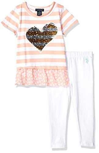 U.S. Polo Assn. Girls' Toddler 3 Piece Tunic, Jersey Tank, and Pull-on Short Set