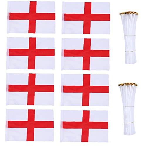 Tuimiyisou Handmini-Flagge Europa-Cup, Flagge Hand Kleine Mini Fahnen Banner, Nationalflagge Mit Rod England 100pcs