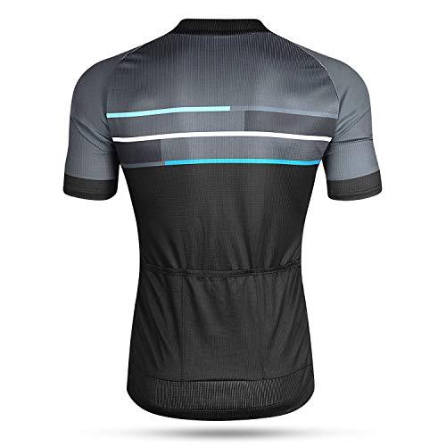 LAMEDA Kurzarm Radtrikot Fahrradtrikot Herren T-Shirt Jersey Radsport Funktionsshirt Elastische Atmungsaktive Schnell Trocknen Stoff(Blau S) - 5