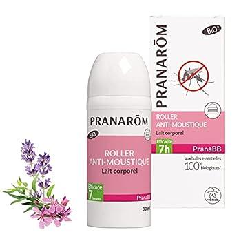 Pranarôm  Pranabb   Roller Anti-Moustique Bio (Eco)   Lait Corporel   aux Huiles Essentielles biologiques   30 ml