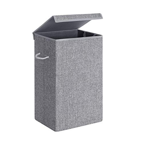 SONGMICS Laundry Hamper with Lid Laundry Basket with Liner Bag Linenette Fabric Clothes Hamper with Handles for Laundry Room Bedroom 85L Gray ULCB01G