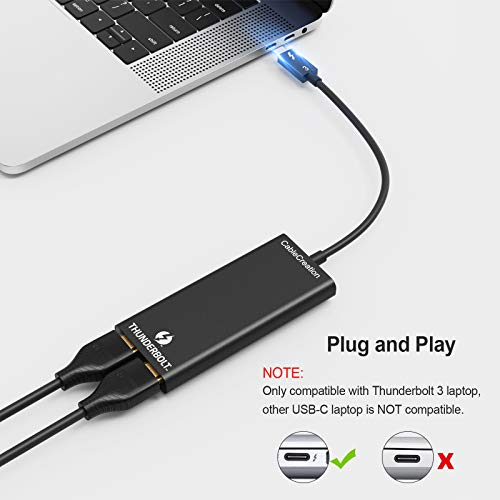 [認定済み]Thunderbolt3toデュアルHDMIディスプレイ,CableCreationThunderbolt3to2×HDMI2.0アダプタ,4K@60Hz,40Gbps,Mac&一部のWindowsシステムに対応