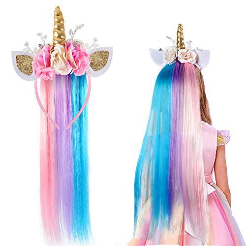 vamei Licorne Serre-tête avec Perruque pour Enfant Fille Licorne Déguisements Accessoires Licorne Bandeau Fleur pour Carnaval Haloween Fête