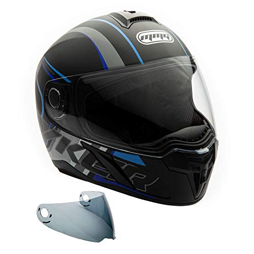 MMG 22 Motorcycle Full Face Helmet DOT Street Legal. Includes 2 Visors Comes with Clear Shield and Free Smoked Shield - Tribal Blue, XL