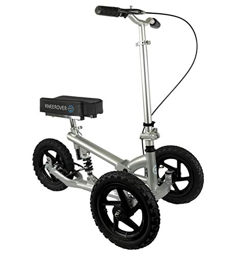 KneeRover PRO All Terrain Knee Scooter with Shock Absorber - Silver