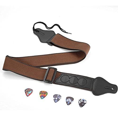 Gitarrengurt für Akustikgitarre,E-Gitarre,Westerngitarre-Verstellbar Länge 94.5-155 cm,Komfortables und Atmungsaktives Gewebe,Extra 5 Einzigartige Plektren,Ideal für Erwachsene und Kinder
