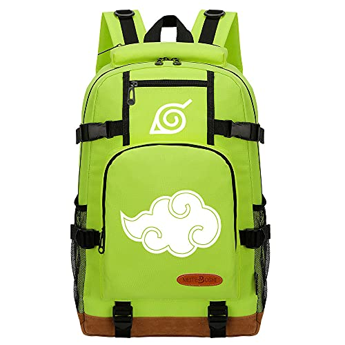 CXWLK Mochila para Negocios para Hombres Y Mujeres para Viajes Escolares De Trabajo para Acampar Daypacks Mochila De Gran Capacidad,Naruto,Green,46cmX29cmX13cm
