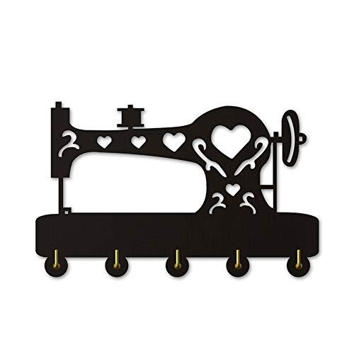 Percheros Pared Perchero Entrada Recibidor Máquina de coser Silihouette ropa de madera sombrero llave gancho / perchero / gancho de pared decoración del hogar moderno pegatinas de pared baño de cocina