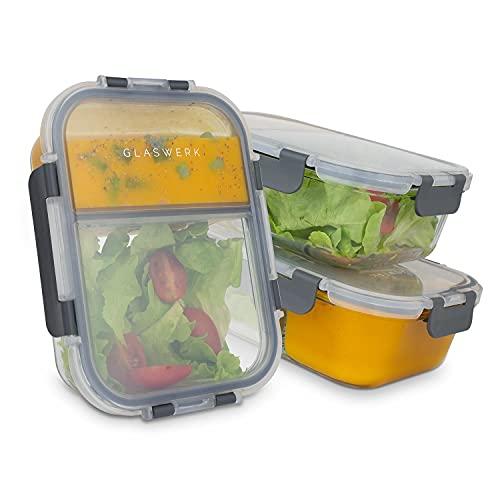 GLASWERK Meal Prep Boxen (3 Stück - 1040ml) - Frischhaltedosen aus Glas mit 2 getrennten Fächern - 100% auslaufsichere Glas Frischhaltedosen - Essensboxen perfekt für Meal Prep