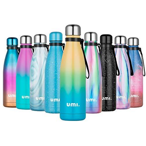 UMI. by Amazon - Trinkflasche 500ml,Doppelwandige Thermosflasche Vakuumisolierte Wasserflasche aus Edelstahl 18/8, BPA-frei 12 Stunden Heiß und 24 Stunden Kalt halten, für Fahrrad, Reisen,Sport