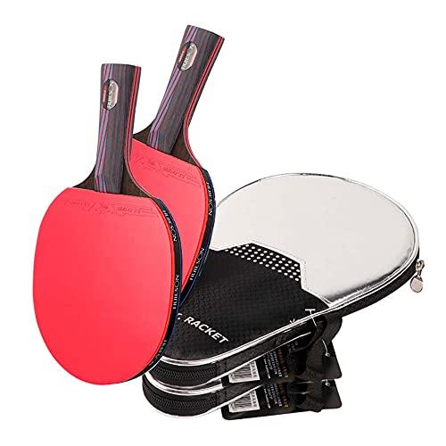 LINGOSHUN Raquetas de Tenis de Mesa con Nano Fibra de Carbono,Caucho Aprobado por la ITTF, kit de Raqueta de Entrenamiento Deportivo Profesional / 2 Pack/Long handle