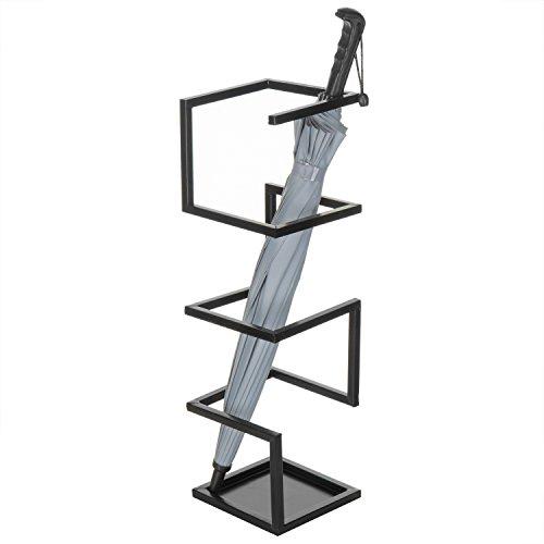 MyGift Geometric Design Metal Umbrella Holder Stand, Black