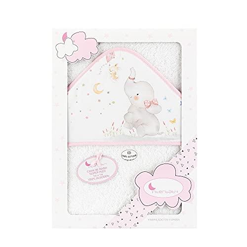 Interbaby 01227-12 - Capa de baño ELEFANTE blanco y rosa, unisex