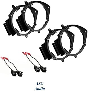 ASC 2 Pair 6+-Inch 6 6.5 6.75 Car Speaker Install Adapter Mount Bracket Plates w'Speaker Wire Connectors for Select GM GMC/Pontiac/Chevrolet Vehicles- see below for compatible vehicles