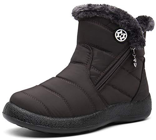 Gaatpot Damen Winterstiefel Wasserdicht Warm gefütterte Schneestiefel Winterschuhe Winter Kurzschaft Stiefel Boots Schuhe Coffee 41
