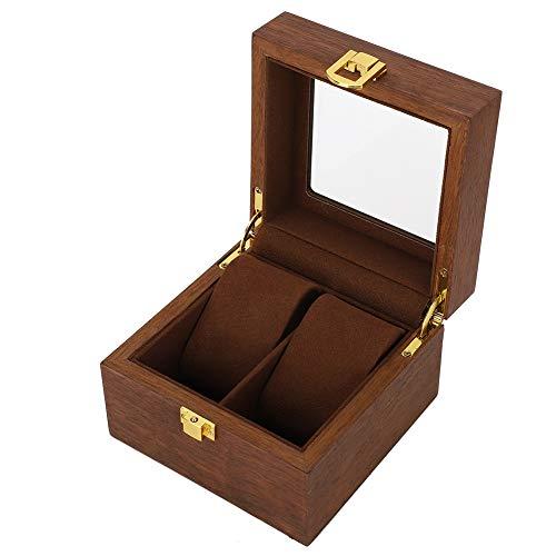 Caja de reloj de madera, caja de exhibición de joyería de reloj Caja de reloj de 2 ranuras Caja de reloj de color nogal negro para mostrador para el hogar