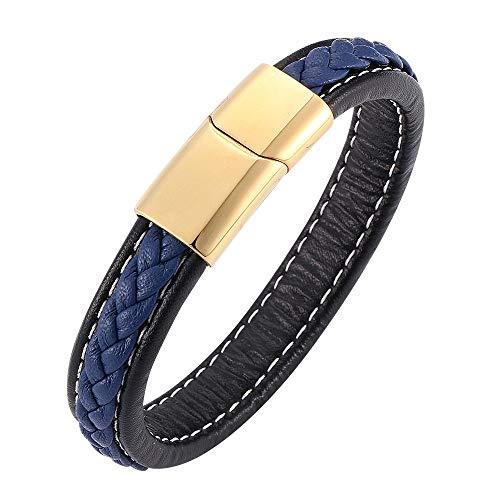ADGJL Bracelet Cuir Femme Manchette,Punk Mode À La Main Bleu Marine Corde Bracelet Manchette Vintage Bracelet en Cuir Doré Fermoir Poli Classique Bijoux pour Femmes Hommes Couple Cadeau