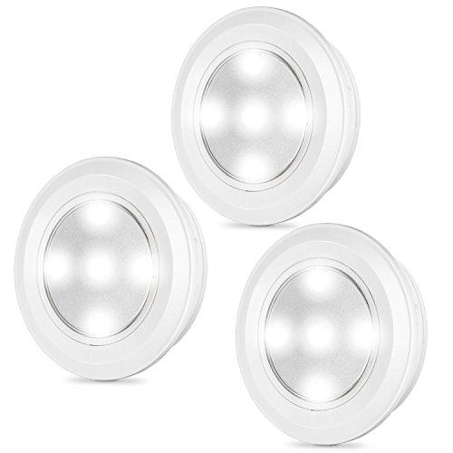 Kohree LEDプッシュライト 電池式 防災非常用灯 ナイトライト キャビネットライト 夜間照明 常夜灯3個セット (白光)