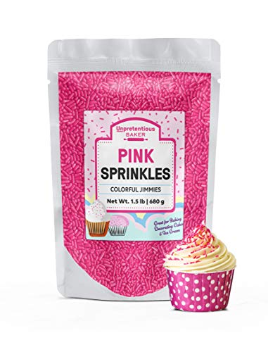 Pink Sprinkles, 1.5 lb by Unpretentious Baker, Pink Jimmies, For Baby Showers, Bridal Showers, Birthday Parties, & More! Gluten-Free, Clear Resealable Bag