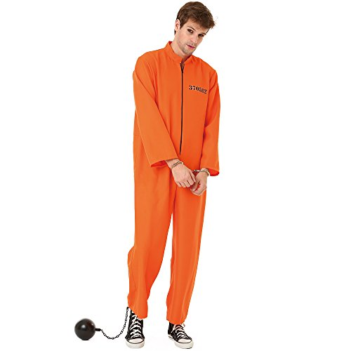 Conniving Convict Adult Men's Halloween Dress Up Theme Party Cosplay Costume (X-Large) Orange
