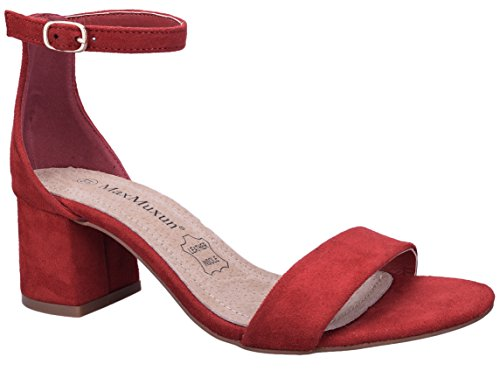 MaxMuxun Zapatos de Tacón Cuadrado Rojo Casual Modo Clásico para Mujer Tamaño 39 EU