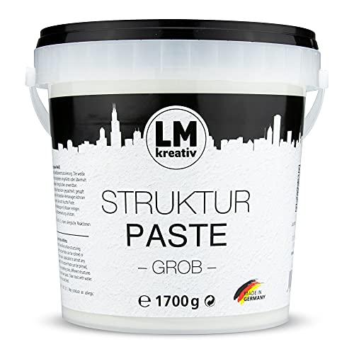 LM Strukturpaste grob 1,7 kg im Eimer - Weiß Natur - Spachtelmasse / Strukturfarbe für den Künstlerbedarf. Die Modelliermasse / Modellierpaste mit grober Körnung. Auch als Spachtel / Spachtelmasse