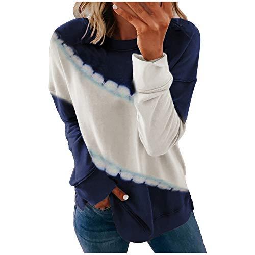 Xmiral Sweatshirt Damen Tye-Die Langarm Gestreifte Farbe Patchwork Rundhals-Pullover...