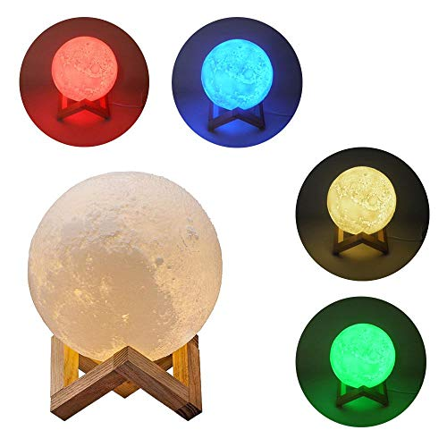 Luminaria Lua Cheia 3D Abajur Touch RGB Decoracao USB LED