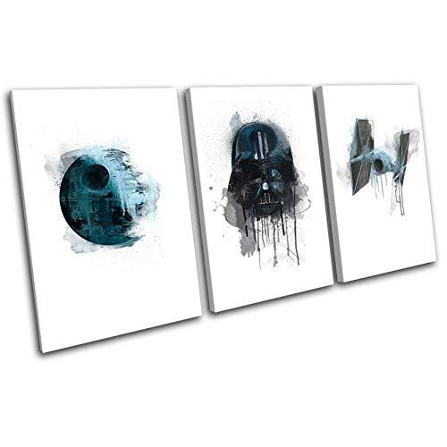 Impresión Lienzo Pared Arte Pintura Para Decoración Para El Hogar Pintura Impresión Sobre Lienzo Cuadro 3 Piezas Panel Pinturas Fotos Impresiones 50x70x3(Marco) Star Wars Death Star Vader Película
