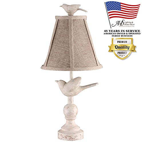 AHS Lighting L1659-UP1 Fly Away Decorative Accent Table Lamp Natural Ivory Cream Polyresin Perfect for bookshelf, kitchens, desks, cabin cottage style homes, Beige