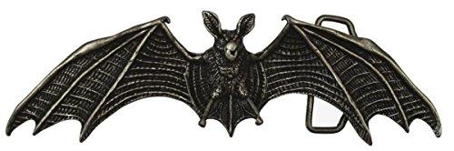 Brazil Lederwaren Gürtelschnalle Fledermaus 4,0 cm | Buckle Wechselschließe Gürtelschließe 40mm Massiv | LARP- und Mittelalter-Outfit | Altsilber