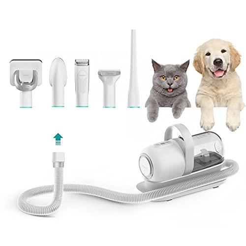 Neabot 犬用 バリカン ブラシ掃除機 猫用 ペット美容器 グルーミングセット ブラッシングしながら毛を自動吸える トリミング 電動バリカン アタッチメント豊富 ヘアクリッパー ヘアブラシ P1 Pro