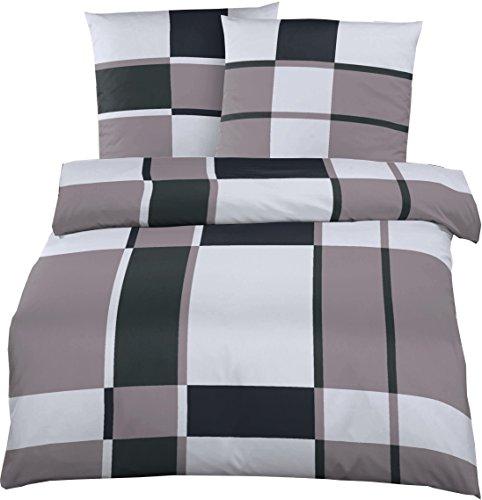 Elegante Mako-Satin Hotelbettwäsche 240 x 220 cm Grau-Schwarz kariert aus 100% Baumwolle für besten Schlafkomfort – Bettwäsche Set mit Kopfkissen-Bezug und Mako Satin Hotel-Bettwäsche
