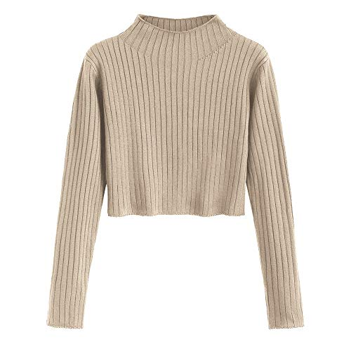 ZAFUL Women's Mock Neck Long Sleeve Ribbed Knit Pullover Crop Sweater (Tan, M)